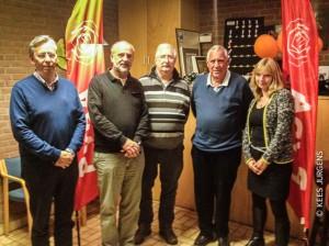 De top 5 van de kieslijst: v.l.n.r. René van Loon (3) - Henk Joosten (1) - Daan Dankaart (5) - Henk Tamboer (4) en Hennie Wiersma (2)